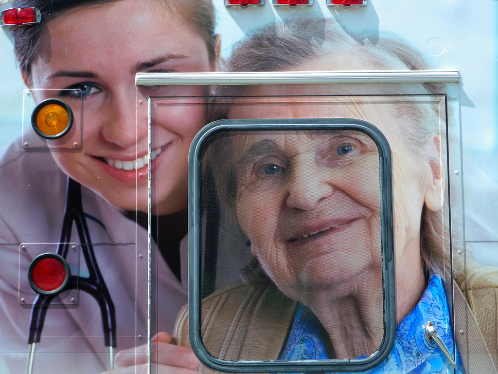 nurse and an old woman